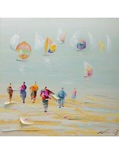 Tableau peint PLAGE huile  - par Arte Espina
