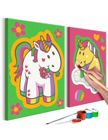 Tableau à peindre soi même LICORNES VERT ET ROSE - par Artgeist