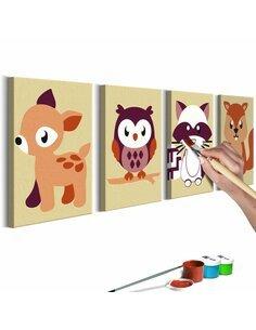Tableau à peindre soi même ANIMAUX DE LA FORÊT - par Artgeist
