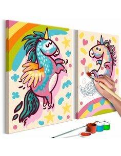 Tableau à peindre soi même LICORNES DODUES - par Artgeist