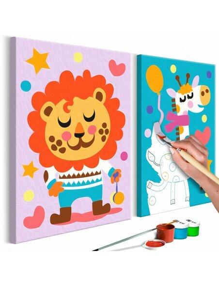 Tableau à peindre soi même LION ET GIRAFE - par Artgeist