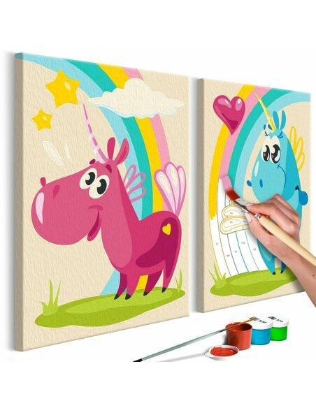 Tableau à peindre soi même LICORNES MIGNONES - par Artgeist