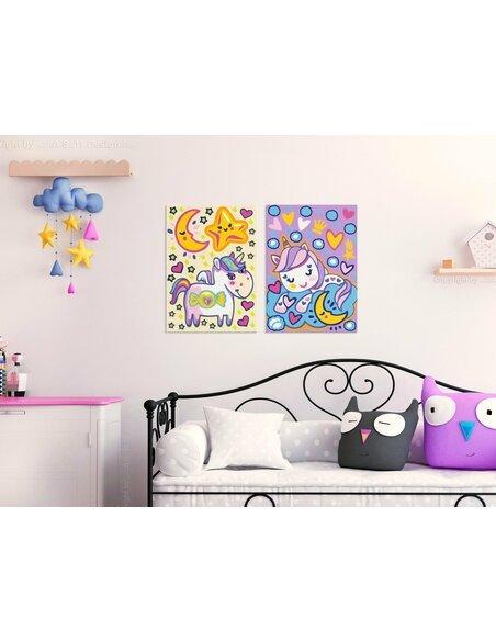 Tableau à peindre soi même LICORNES BONJOUR ET BONNE NUIT - par Artgeist