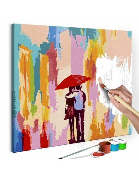 Tableau à peindre soi même COUPLE SOUS UN PARAPLUIE FOND ROSE - par Artgeist