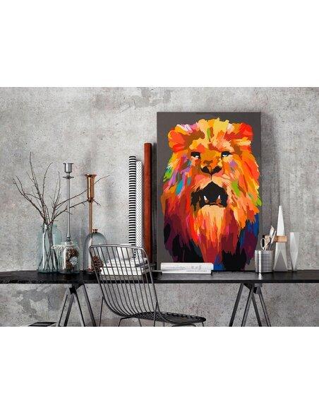 Tableau à peindre soi même LION COLORÉ - par Artgeist