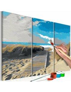 Tableau à peindre soi même PLAGE CIEL BLEU - par Artgeist