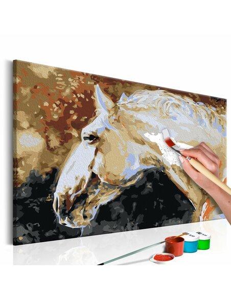 Tableau à peindre soi même CHEVAL BLANC - par Artgeist