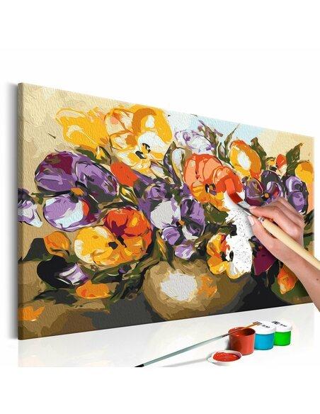 Tableau à peindre soi même VIOLAS DANS UN VASE - par Artgeist