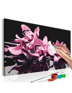 Tableau à peindre soi même ORCHIDÉE ROSE FOND NOIR - par Artgeist