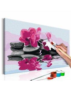 Tableau à peindre soi même ORCHIDÉE ET PIERRES ZEN DANS UN MIRROIR D'EAU - par Artgeist