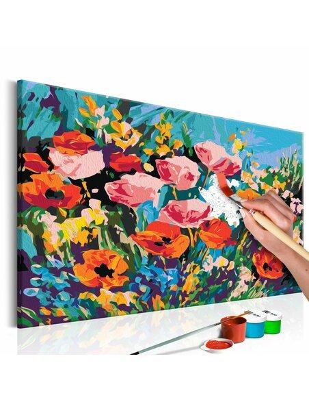 Tableau à peindre soi même FLEURS DE CHAMPS COLORÉES - par Artgeist