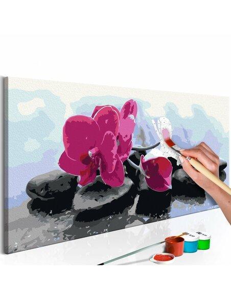 Tableau à peindre soi même ORCHIDÉE ET PIERRES ZEN - par Artgeist