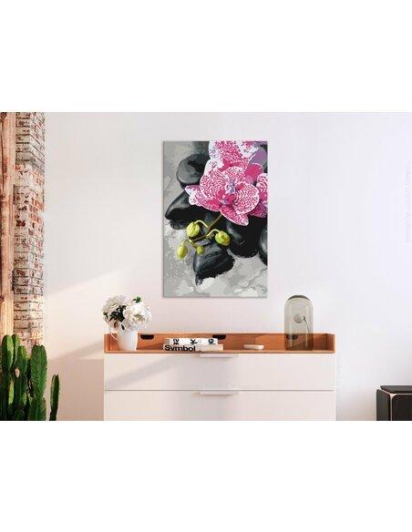 Tableau à peindre soi même ORCHIDÉE ROSE - par Artgeist