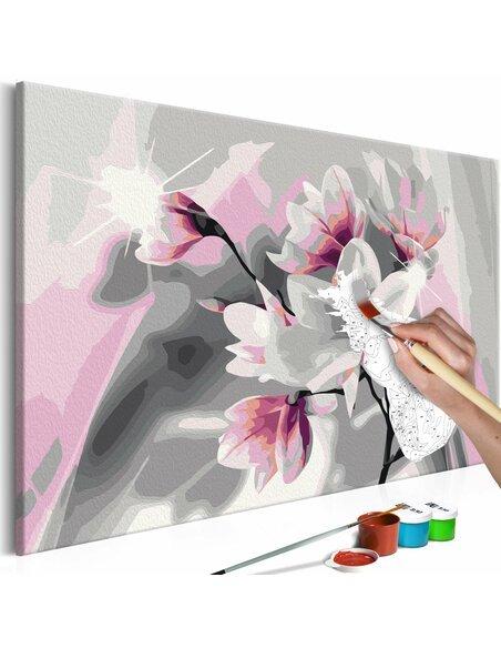 Tableau à peindre soi même MAGNOLIA FOND GRIS - par Artgeist