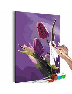 Tableau à peindre soi même TULIPES FOND VIOLET - par Artgeist