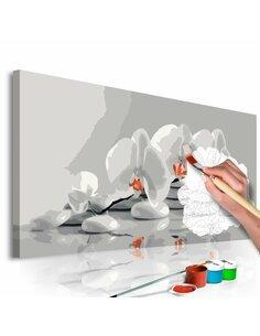 Tableau à peindre soi même ORCHIDÉE BLANC ET GRIS - par Artgeist