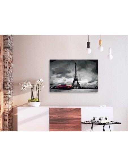 Tableau à peindre soi même PARIS LIMOUSINE ROUGE - par Artgeist