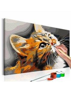 Tableau à peindre soi même CHAT ROUX - par Artgeist