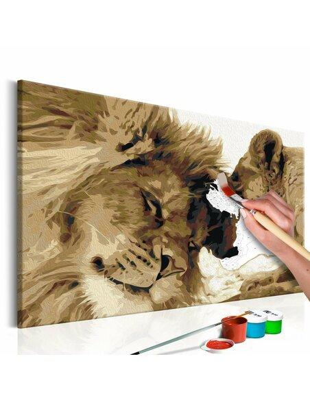 Tableau à peindre soi même LION ET LIONNE AMOUR - par Artgeist