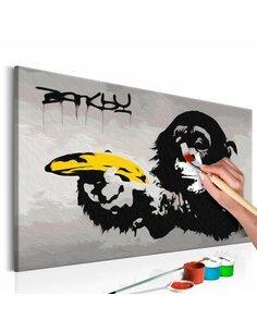 Tableau à peindre soi même SINGE BANKSY STREET ART GRAFFITI - par Artgeist