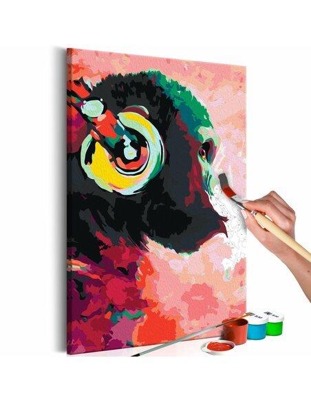 Tableau à peindre soi même SINGE AVEC ÉCOUTEURS - par Artgeist