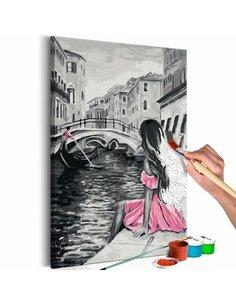Tableau à peindre soi même VENISE FILLE HABILLIÉE D'UNE ROBE ROSE - par Artgeist