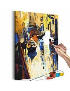 Tableau à peindre soi même VENISE GONDOLES - par Artgeist