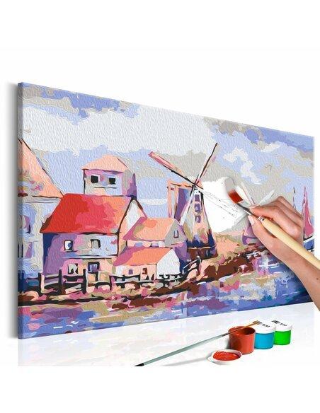 Tableau à peindre soi même MOULINS À VENT PAYSAGE - par Artgeist