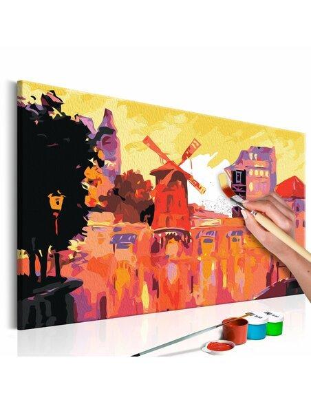 Tableau à peindre soi même MOULIN ROUGE À VENT - par Artgeist