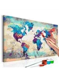 Tableau à peindre soi même CARTE DU MONDE BLEU-ROUGE - par Artgeist
