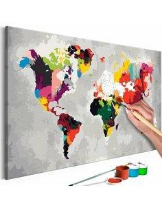 Tableau à peindre soi même CARTE DU MONDE COULEURS CRIARDES - par Artgeist