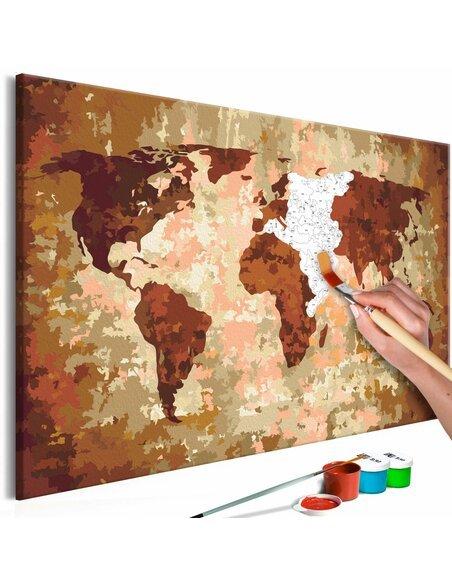 Tableau à peindre soi même CARTE DU MONDE COULEURS DE LA TERRE - par Artgeist
