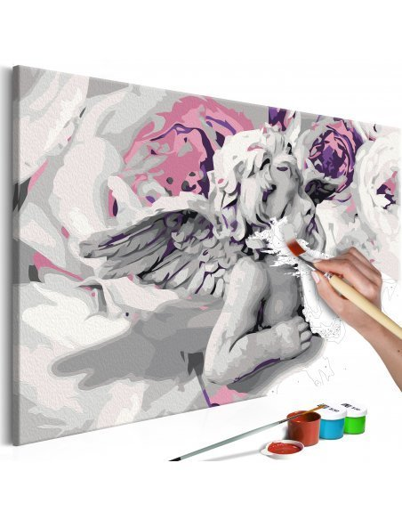 Tableau à peindre soi même ANGE FLEURS AU FOND - par Artgeist