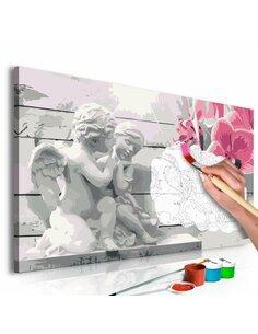 Tableau à peindre soi même ANGES ORCHIDÉE ROSE - par Artgeist
