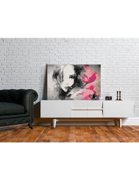 Tableau à peindre soi même PORTRAIT en N&B AVEC UNE FLEUR ROSE - par Artgeist