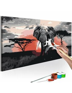 Tableau à peindre soi même ÉLÉPHANTE AFRIQUE - par Artgeist