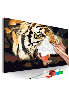 Tableau à peindre soi même TIGRE RUGISSANT - par Artgeist