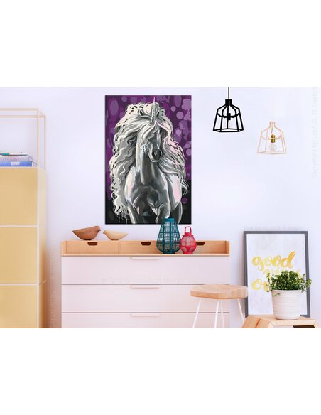 Tableau à peindre soi même LICORNE BLANCHE - par Artgeist