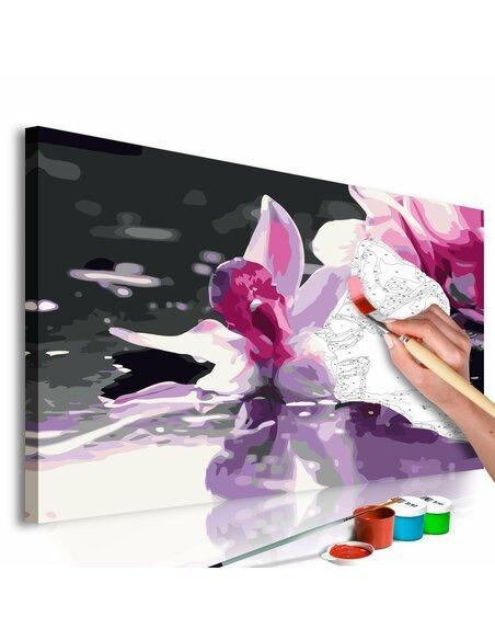 Tableau à peindre soi même ORCHIDÉE ROSE DÉTAIL - par Artgeist