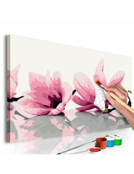 Tableau à peindre soi même MAGNOLIA FOND BLANC - par Artgeist