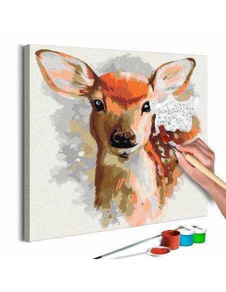 Tableau à peindre soi même FAON AIMABLE - par Artgeist