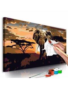 Tableau à peindre soi même ÉLÉPHANT EN AFRIQUE NUANCES DE BRUN - par Artgeist