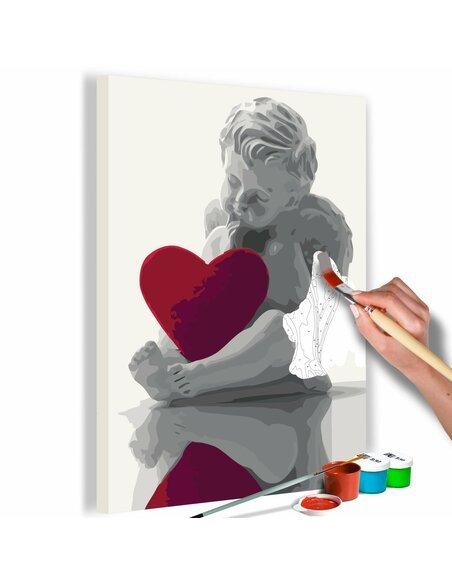 Tableau à peindre soi même ANGE COEUR ROUGE - par Artgeist