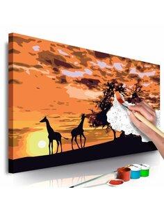 Tableau à peindre soi même SAVANNE GIRAFES ET ÉLÉPHANTES - par Artgeist