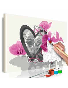 Tableau à peindre soi même ANGES COEUR ET ORCHIDÉE ROSE - par Artgeist