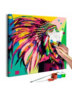 Tableau à peindre soi même INDIEN PANACHE - par Artgeist