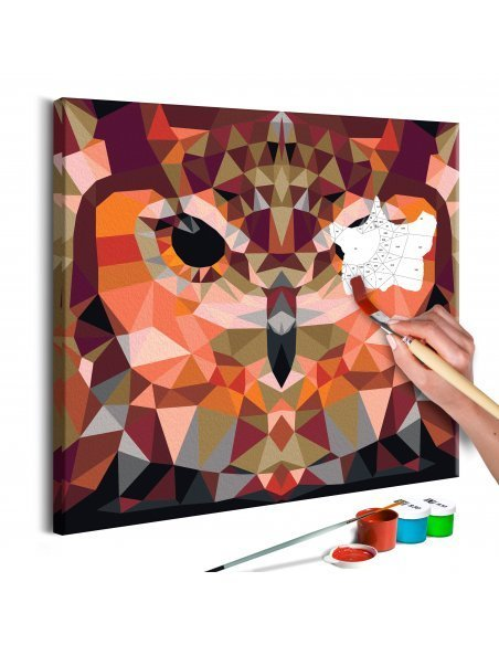 Tableau à peindre soi même HIBOU GÉOMÉTRIQUE - par Artgeist