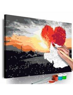 Tableau à peindre soi même ARBRE EN FORME DE COEUR LEVER DE SOLEIL - par Artgeist