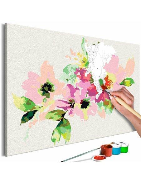Tableau à peindre soi même FLEURS COLORÉES - par Artgeist