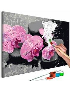 Tableau à peindre soi même ORCHIDÉE ET PIERRES ZEN FOND NOIR - par Artgeist